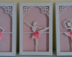 Trio Quadros Vazados-Bailarina Rosa