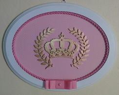 Quadrinho Oval - Princesa Rosa c Poa