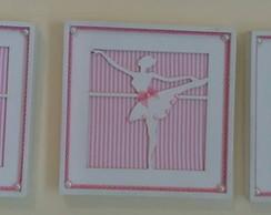 Trio Quadrinhos Vazados-Bailarina Rosa