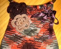 Bolsa em tricot com l� matizada