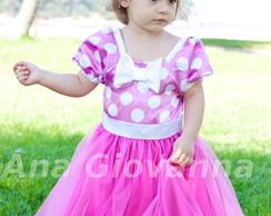 Vestido Infantil Minnie Rosa Princesa