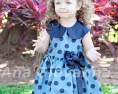Vestido Infantil Cinza e Preto