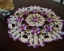 Toalha de mesa redonda flores lil�s