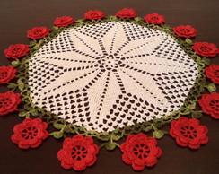Toalha de mesa redonda flores vermelhas