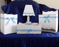 Kit Higiene Beb� Em Mdf Branco / Azul