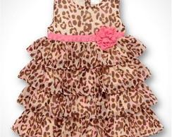 Vestido Infantil Leopardo- Pronta Entreg