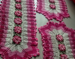 Jogo de tapetes cr� e rosa 3 pe�as