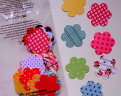 Aplique Scrapbook Flor M - Kit Com 50 Un