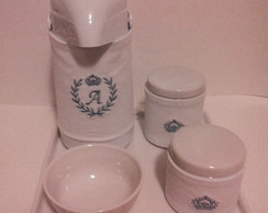 kit higiene porcelana com capa bordada