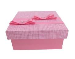 Caixa Decorada Estampada Rosa - lacinhos