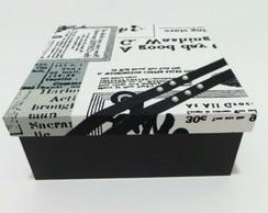 Caixa Decorada Estampada - Preto Branco