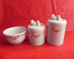 Kit Higiene,Porcelana,Bebe,3 Pe�as,Ouro.