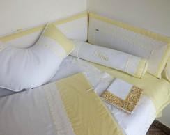 Kit Ber�o Bord Ingl�s - Branco e Amarelo