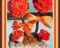 Topiaria Dupla de Flor Laranja P.
