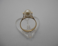 anel de perola folhado a ouro 18k