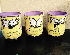 Trio de Vasos Corujas