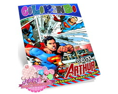 Kit Colorir Superman + Giz de Cera
