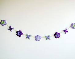 Grande Varal de Flores e Borboletas LUXO