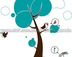 Adesivo �rvore P�ssaros e Coelho