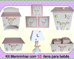 kit higiene Quarto Beb� Rosa -10 Pe�as