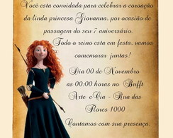 Convite Pergaminho Princesa Merida