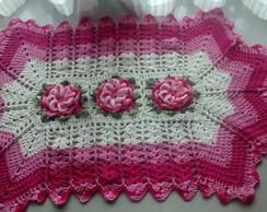 Tapete flor caracol cr� e rosa