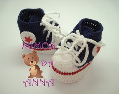 sapatinho de croche all star azul m.
