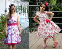 Vestidos M�e e Filha Floral Pink