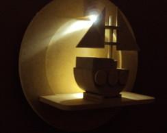 Quadro bebe com barco e luz de led