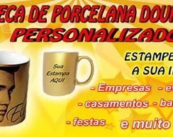 CANECA DE PORCELANA DOURADA