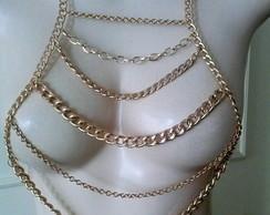 Body Jewelry Colar Corpo Gold Queen