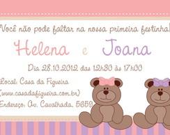 Convite Ursinho Rosa e Lil�s