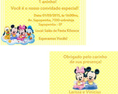 Kit convite+tag- Mickey e Minnie baby