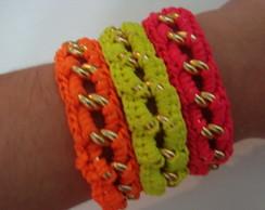 Pulseiras em croch� - neon