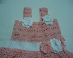 Vestidinho de Croch� Bicolor