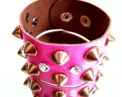 Pulseira em couro sint�tico pink