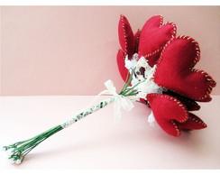 Bouquet de Feltro Cora��es - Buqu�