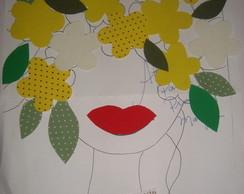 Aplique Cabe�a de Flores Amarelas
