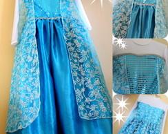 Fantasia Frozen princesa Elsa capa Luxo!