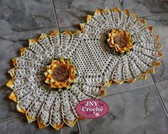 Tapete de croch� com flor Mega Girassol