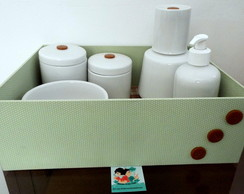 Kit Higiene Porcelana Po� & Xadrez Verde