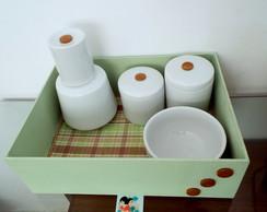 Kit Higiene Porcelana Po�&Xadrez Verde