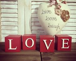 LOVE Cubos Decor - vermelho/branco