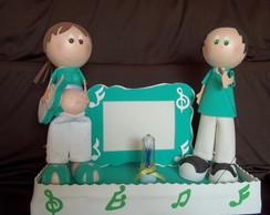 Boneca gr�vida com marido verde e branco
