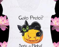 T shirt, baby look, bata GATO PRETO SIM