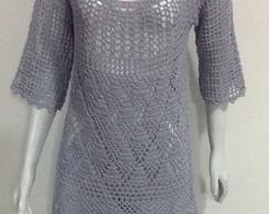 Vestido crochet em cinza