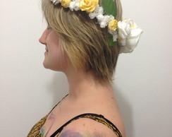 Coroa Flores branca e amarela