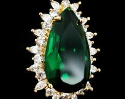 Anel Zirc�nia Verde Esmeralda