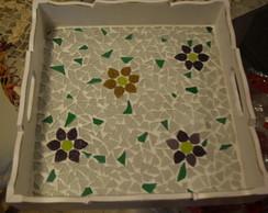 bandeja, mosaico, quadrada, floral