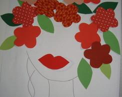 Aplique Cabe�a de Flores Laranja